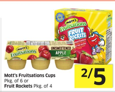 Mott's Fruitsations Cups Pkg of 6 or Fruit Rockets Pkg of 4
