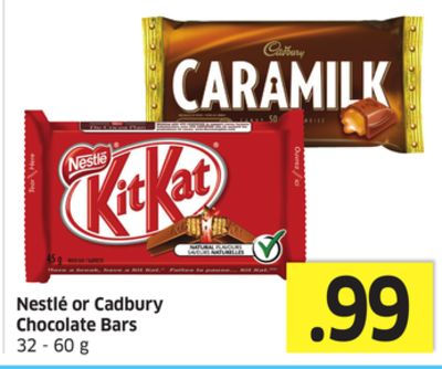 Nestlé or Cadbury Chocolate Bars 32 - 60 g