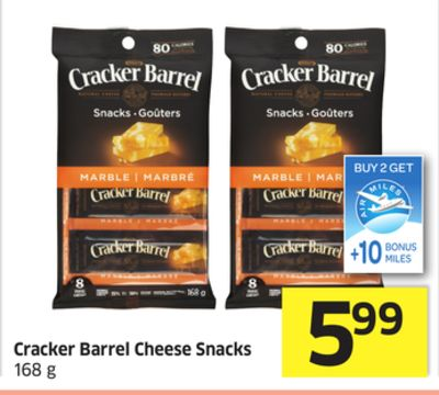 Cracker Barrel Cheese Snacks 168 g - +10 Air Miles Bonus Miles