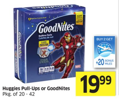 Huggies Pull-Ups or Goodnites - +20 Air Miles Bonus Miles
