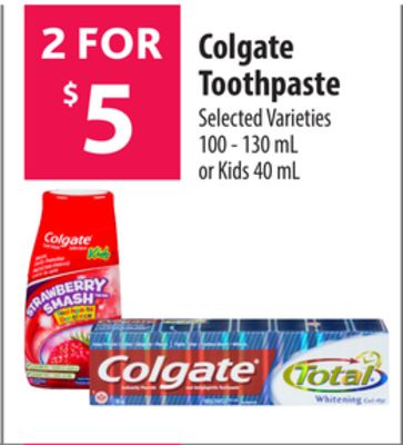 Colgate Toothpaste 100 - 130 mL or on sale | Salewhale.ca