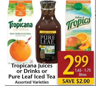 Tropicana Juices or Drinks or Pure Leaf Iced Tea
