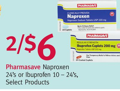 Pharmasave Naproxen 24's or Ibuprofen 10–24's