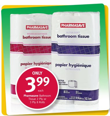 Pharmasave Bathroom Tissue 2 Ply or 3 Ply 8 Rolls