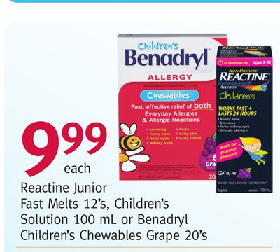 Reactine Junior Fast Melts 12's - Children's Solution 100 mL or Benadryl Children's Chewables Grape 20's