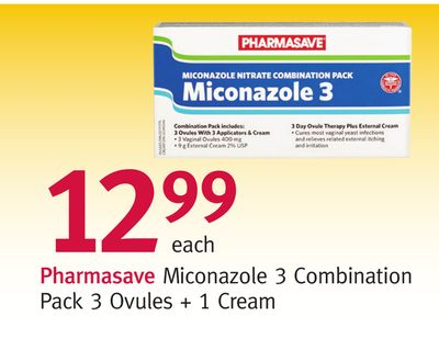 Pharmasave Miconazole 3 Combination Pack 3 Ovules + 1 Cream