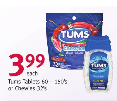 Tums Tablets 60 – 150's or Chewies 32's