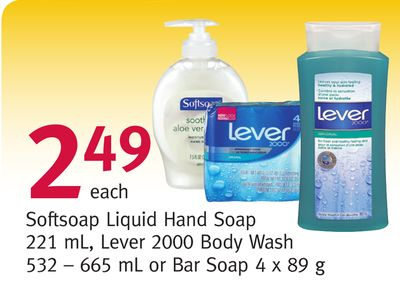 Softsoap Liquid Hand Soap 221 mL - Lever 2000 Body Wash 532 665 mL or Bar Soap 4 X 89 g