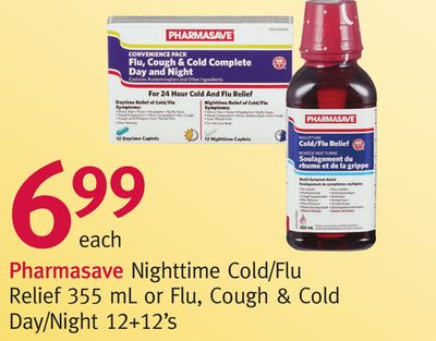 Pharmasave Nighttime Cold/flu Relief 355 mL or Flu - Cough & Cold Day/night 12+12's
