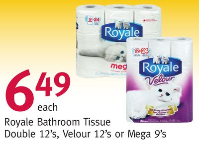 Royale Bathroom Tissue Double 12's - Velour 12's or Mega 9's
