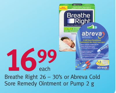 Breathe Right 26 – 30's or Abreva Cold Sore Remedy Ointment or Pump 2 g