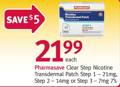 Pharmasave Clear Step Nicotine Transdermal Patch Step 1 – 21mg - Step 2 – 14mg or Step 3 – 7mg 7's