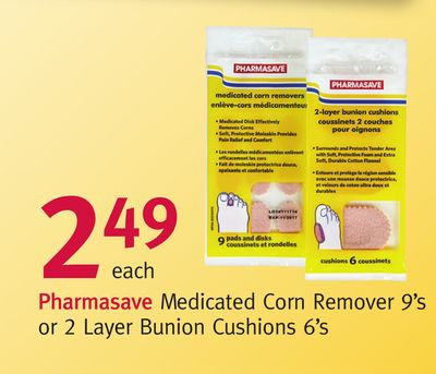 Pharmasave Medicated Corn Remover 9's or 2 Layer Bunion Cushions 6's