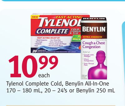 Tylenol Complete Cold - Benylin All-in-one 170 – 180 mL - 20 – 24's or Benylin 250 mL