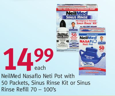 Neilmed Nasaflo Neti Pot With 50 Packets - Sinus Rinse Kit or Sinus Rinse Refill 70 – 100's