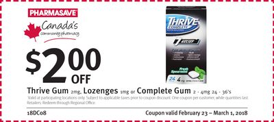 Thrive Gum 2mg - Lozenges 1mg or Complete Gum 2 - 4mg 24 - 36's
