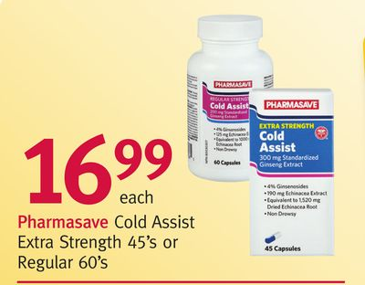 Pharmasave Cold Assist Extra Strength 45's or Regular 60's