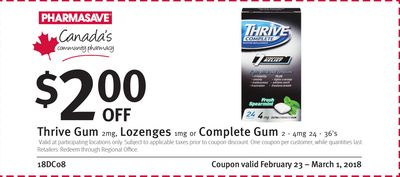 Pharmasave Thrive Gum 2mg - Lozenges 1mg or Complete Gum 2 - 4mg 24 - 36's Coupon