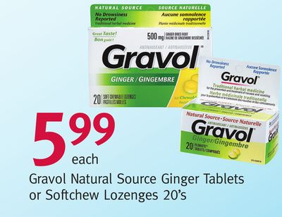 Gravol Natural Source Ginger Tablets or Softchew Lozenges 20's