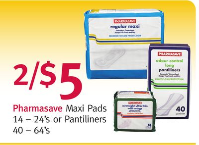 Pharmasave Maxi Pads 14 – 24's or Pantiliners 40 – 64's