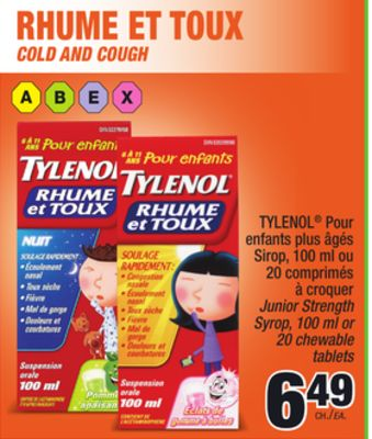 tylenol rhume et toux on sale. Black Bedroom Furniture Sets. Home Design Ideas