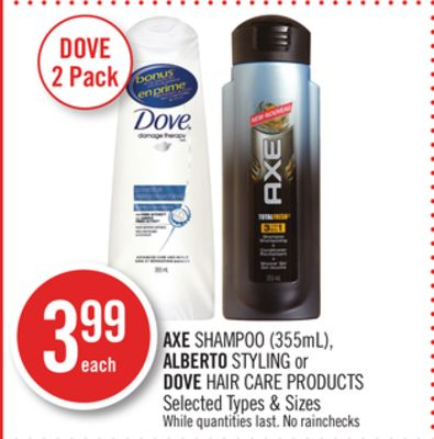 Axe Shampoo (355ml) - Alberto Styling or Dove Hair Care Products