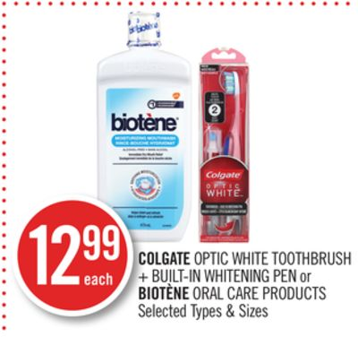 Colgate Optic White Toothbrush + Built-in Whitening Pen or Biotène Oral Care Products