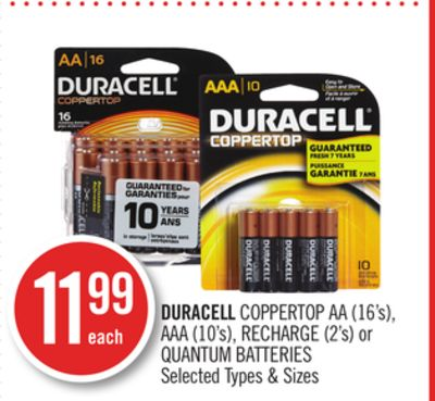 Duracell Coppertop Aa (16's) - Aaa (10's) - Recharge (2's) or Quantum Batteries