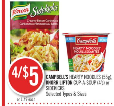 Campbell's Hearty Noodles (55g) - Knorr Lipton Cup-a-soup (4's) or Sidekicks