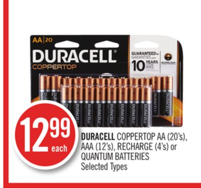 Duracell Coppertop Aa (20's) - Aaa (12's) - Recharge (4's) or Quantum Batteries
