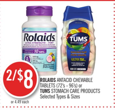 Rolaids Antacid Chewable Tablets or Tums Stomach Care Products