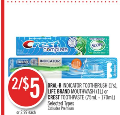 Oral-b Indicator Toothbrush (1's) - Life Brand Mouthwash (1l) or Crest Toothpaste (75ml - 170ml)