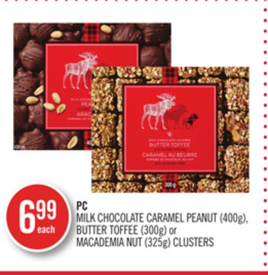 PC Milk Chocolate Caramel Peanut (400g) - Butter Toffee (300g) or Macademia Nut (325g) Clusters