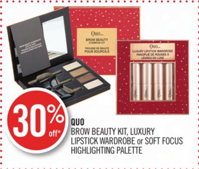 Quo Brow Beauty Kit - Luxury Lipstick Wardrobe or Soft Focus Highlighting Palette