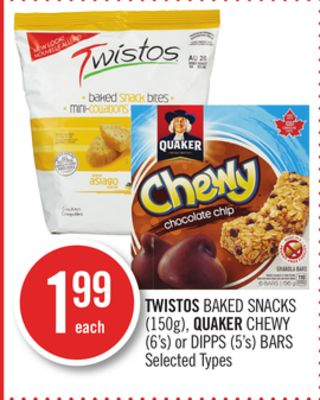 Twistos Baked Snacks (150g) - Quaker Chewy (6's) or Dipps (5's) Bars