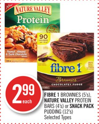 Fibre 1 Brownies (5's) - Nature Valley Protein Bars (4's) or Snack Pack Pudding (12's)