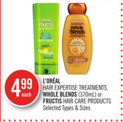 L'oréal Hair Expertise Treatments - Whole Blends (370ml) or Fructis Hair Care Products