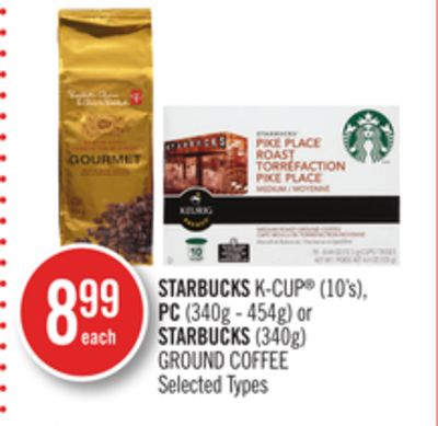 Starbucks K-cup (10's) - PC (340g - 454g) or Starbucks (340g) Ground Coffee