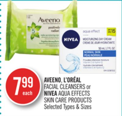 Aveeno - L'oréal Facial Cleansers or Nivea Aqua Effects Skin Care Products