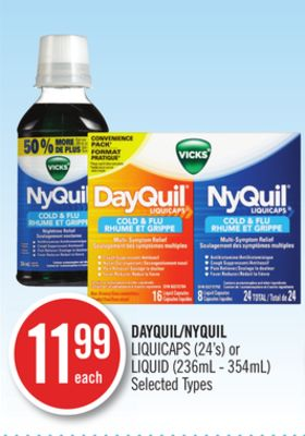 Dayquil/nyquil Liquicaps (24's) or Liquid (236ml - 354ml)