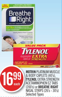 Motrin Platinum Muscle & Body Caplets (40's) - Tylenol Extra Strength Acetaminophen Ez Tabs (200's) or Breathe Right Nasal Strips (26's - 30's)