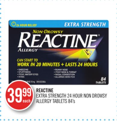Reactine Extra Strength 24 Hour Non Drowsy Allergy Tablets