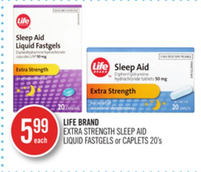 Life Brand Extra Strength Sleep Aid Liquid Fastgels or Caplets