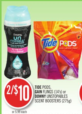 Tide PODS - Gain Flings (14's) or Downy Unstopables Scent Boosters (275g)