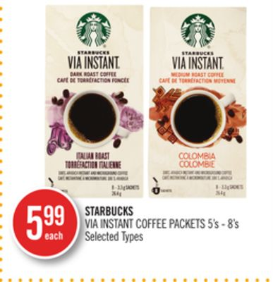Starbucks Via Instant Coffee Packets