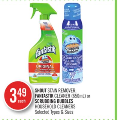 Shout Stain Remover - Fantastik Cleaner (650ml) or Scrubbing Bubbles Household Cleaners