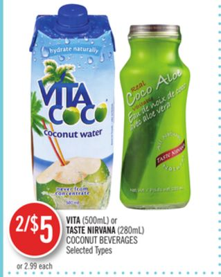 Vita(500ml) or Taste Nirvana (280ml) Coconut Beverages
