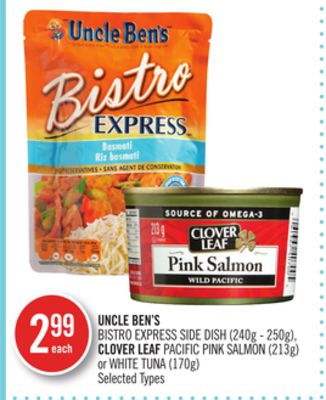 Uncle Ben's Bistro Express Side Dish (240g - 250g) - Clover Leaf Pacific Pink Salmon (213g) or White Tuna (170g)