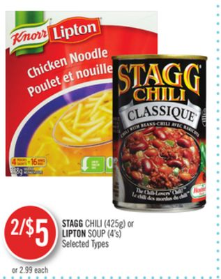 Stagg Chili (425g) or Lipton Soup (4's)