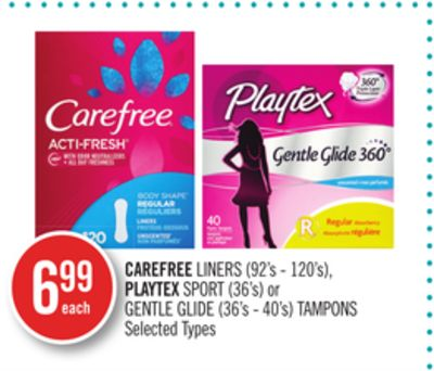 Carefree Liners (92's - 120's) - Playtex Sport (36's) or Gentle Glide (36's - 40's) Tampons